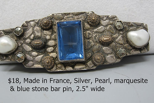 """MADE IN FRANCE, SILVER, PEARL, MARQUISITE AND BLUE STONE BAR PIN, 2.5"""" WIDE"""