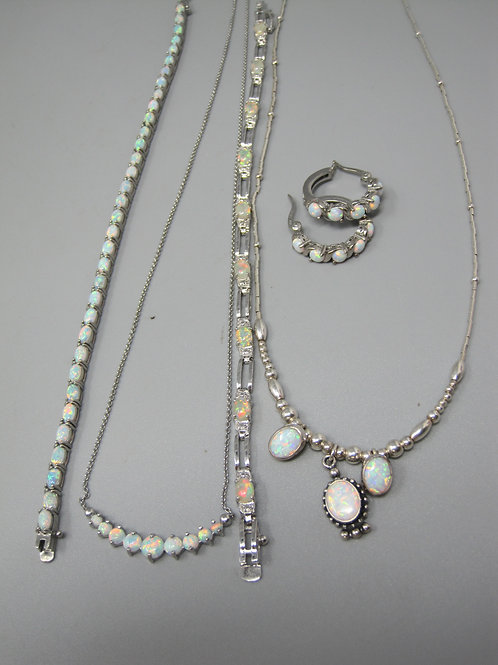 "Sterling Silver and Opal Jewelry, 18"" necklaces, 1"" earrings"