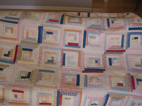 "Vintage hand stitched quilt, shows wear needs repair 76 x 70"""
