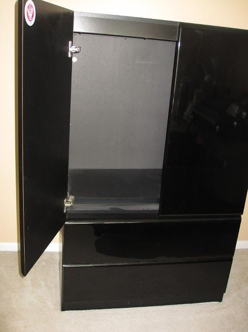 "Lane black lacquer wardrobe 61""T x 38"" W"