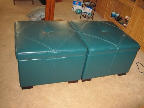 """$45.00 each, high quality, heavy, Teal leather ottoman seat with storage, 26"""" ac"""