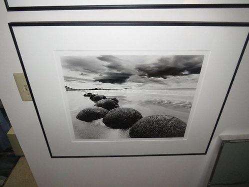 "24"" Framed Photo Beach & rocks"
