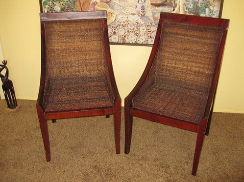 For the pair, Danish woven chair