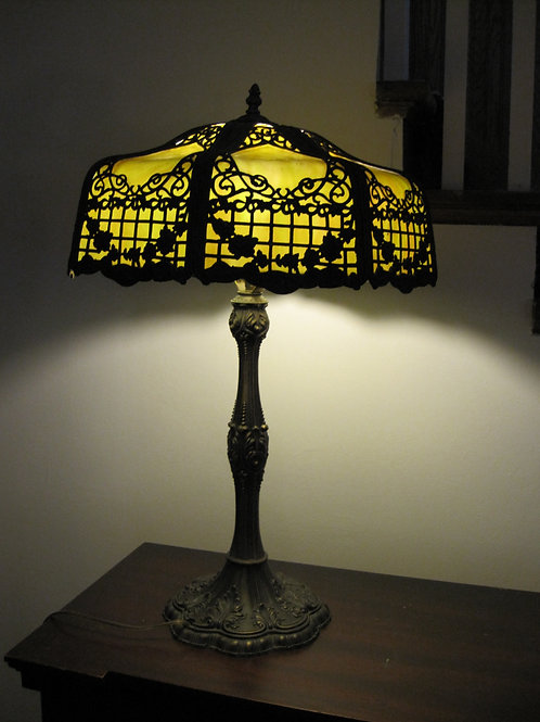 Antique, leaded glass lamp