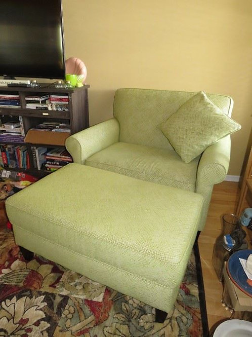 """Art Van Style collection Celery Green chair with ottoman VGC 33"""" deep x 44"""" wide"""