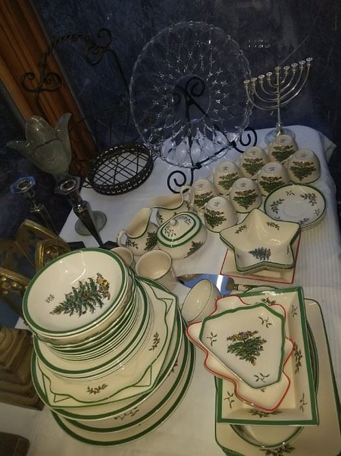 Vintage Spode England, Chritmas Tree serving pieces
