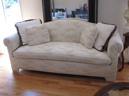 "Cream Sofa by Kaylin, 74"" wide by 33"" deep by 26"" T"
