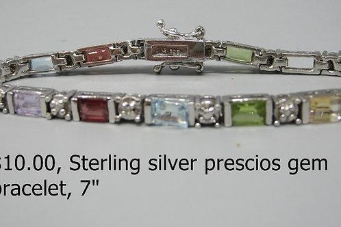 "STERLING SILVER PRECIOUS GEM BRACELET 7"""