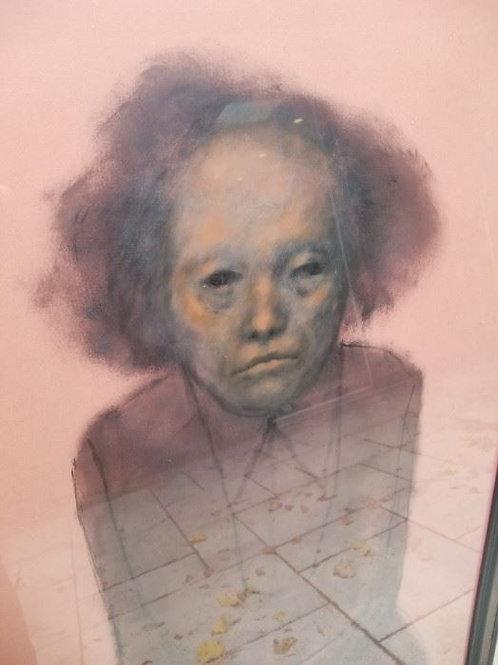 "27 x 24, oil on cardboard, ""La Veija"" by Raphael Coronel, 1962"