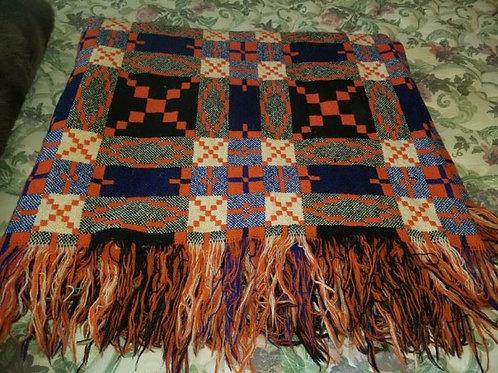 Artisan wool Blanket double VG condition, orange/blue/green