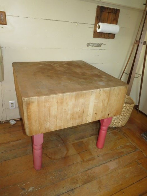 "Vintage Farm Butcher Block massive and heavy appr. 40"" x40""'"
