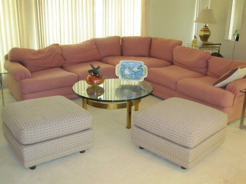 Super comfy pink sectional with some fading on the back left side