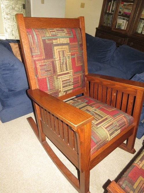 """Solid Oak Mission Style Chair and ottoman, VG condition, 42"""" T x 25"""" deep"""
