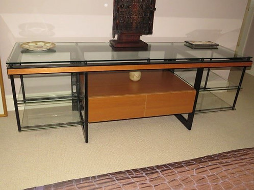 "Custom console maple, steel & glass, 76"" wide x 23"" deep x 26"" tall"