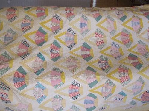 "Vintage 84 x 84"" hand stitched quilt, good condition shows wear"