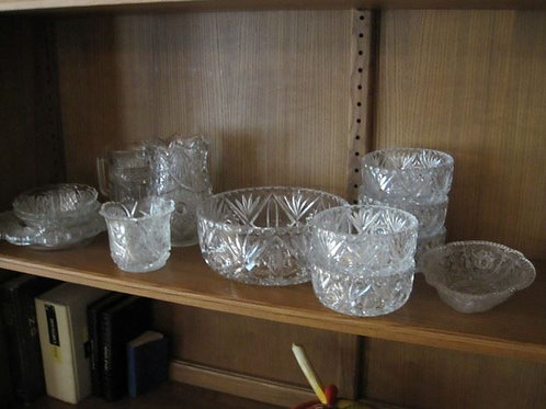 Lot of pressed glass berry bowl set, creamers bowls etc.