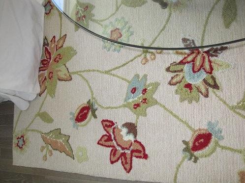 Pottery Barn floral rug 7.5 x 9'