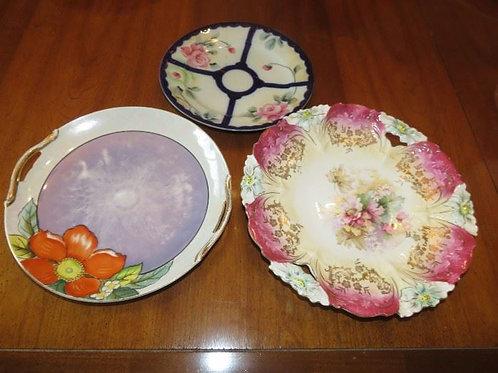 """3 painted plates, Nippon, Bavaria 10/12"""""""