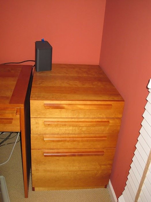 """Teak office cabinet with file drawer, 21.5 W x 29""""D"""
