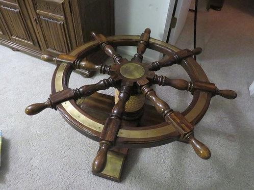 "Ethan Allen, Ship Helm Steering Wheel glass top coffee table, 40"" across, 17"" T"