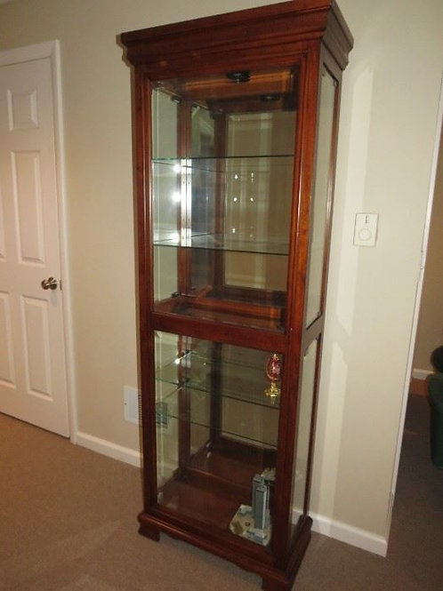 """Lighted curio cabinet 74"""" tall x 2' wide"""