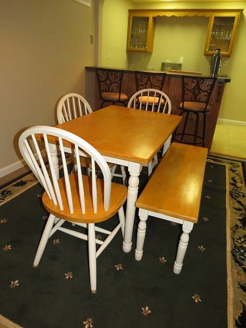 Pine table with chairs and bench VGC 30 x 4'