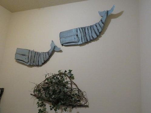 """Pair, Large Blue Whale wall art 30"""" each"""