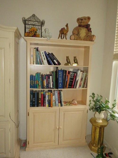 Cream enamel wood book shelf solid wood with 2 doors