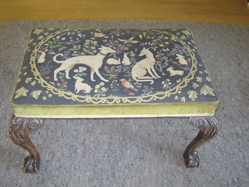 Tapestry Hounds and floral Antique Bench