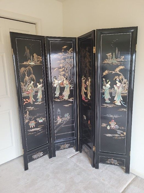 4 Panel Wood & Raised Mother of Pearl Asian Wall Divider
