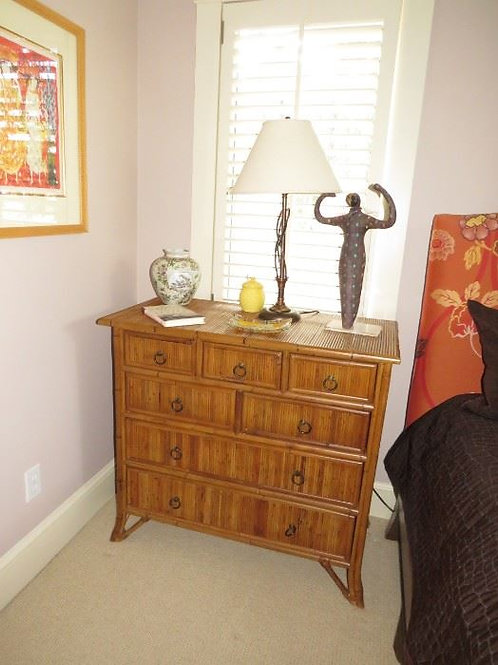 $300 each, Vintage bambooish bedside table, 2 available, 19 deep, 38 wide x 3' T