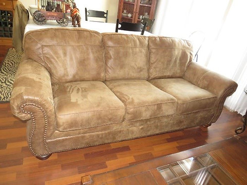 Brushed Faux beige leather VG condition 7'