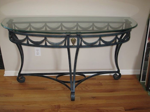 """Glass top heavy wrought iron sofa entry table, 53""""w/19""""d/30""""t"""