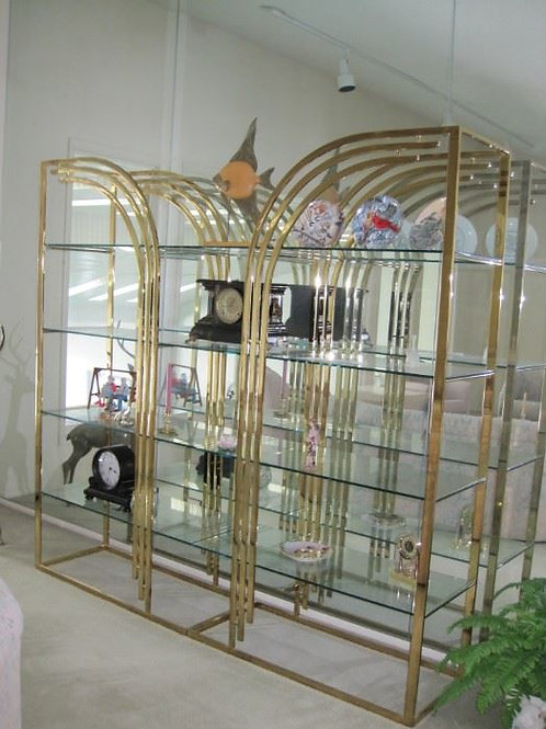 "Full wall retro modern glass display shelving 7' wide by 80"" tall VGC"