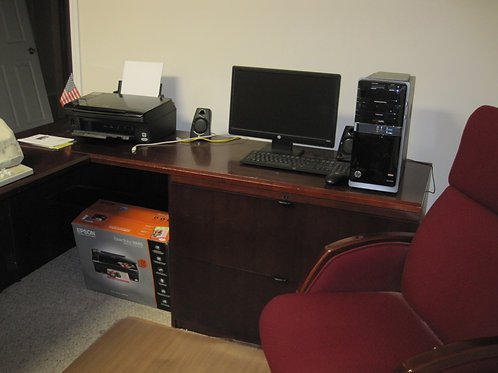 6 x 9 Home office desk, includes lateral file cabinet