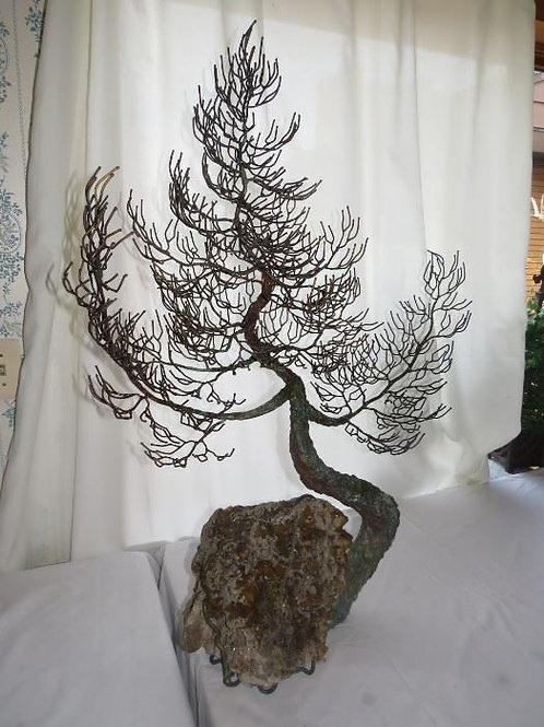 """MCM Metal Tree sculpture 39""""T x 29"""" wide Geode base"""