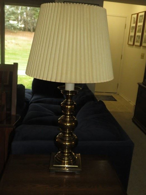"""Brass Lamp 34"""" Tall very heavy VG condition"""