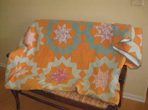 """Vintage hand stitched quilt good condition edges show wear and 1 stain 84 x 84"""""""