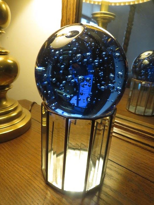 """Signed Lead & Glass Vase with Art Glass ball, 9""""T"""