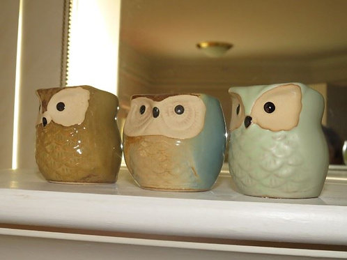 "3 two"" Owl candle votives"