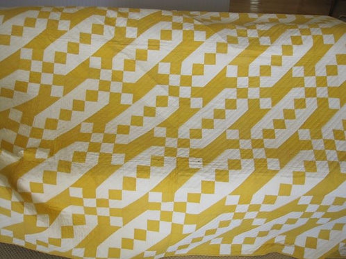 Goldenrod color hand stitched quilt VG condition 72 x 82""