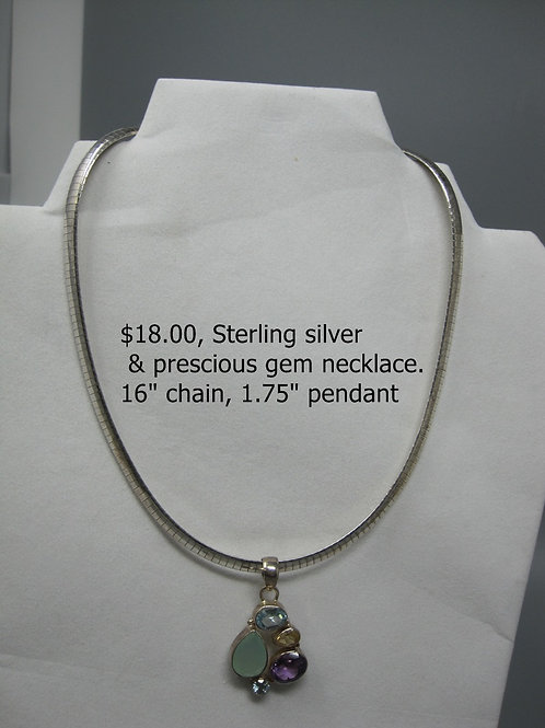 "STERLING SILVER & PRECIOUS GEM NECKLACE 16"" CHAIN, 1.75"" PENDANT"