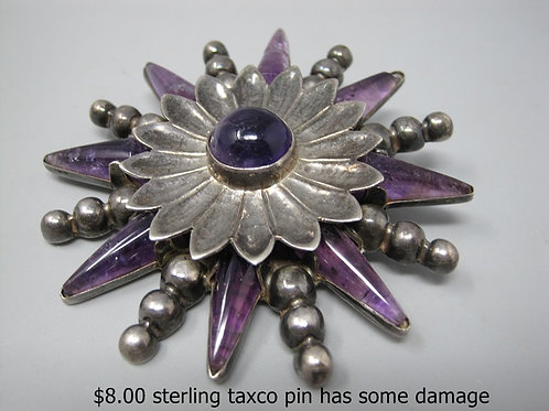 STERLING SILVER TAXO PIN HAS SOME DAMAGE
