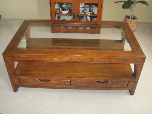 Maple Coffee table with drawers and glass top excellent condition, like new!!