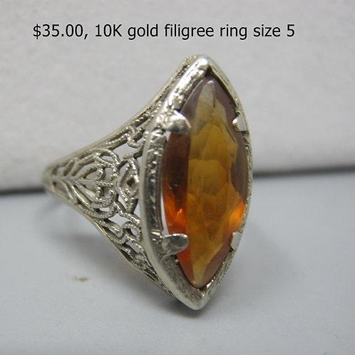 10K GOLD FILIGREE RING SIZE 5