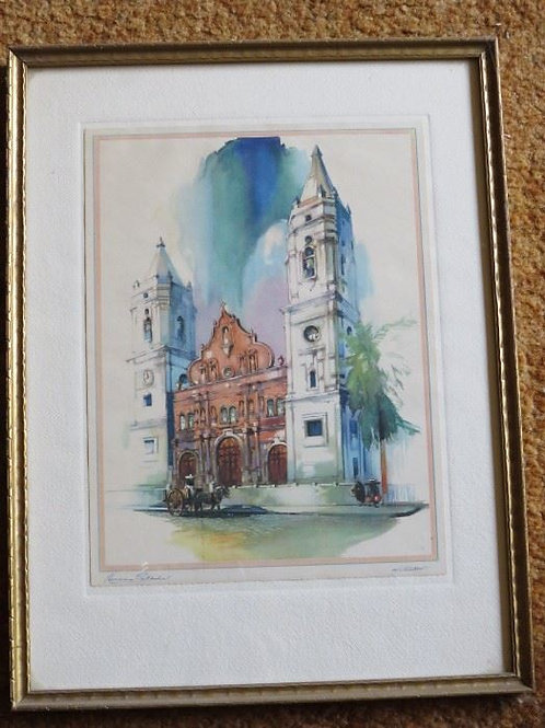 Original Framed Panama Cathedral by Al Mettell