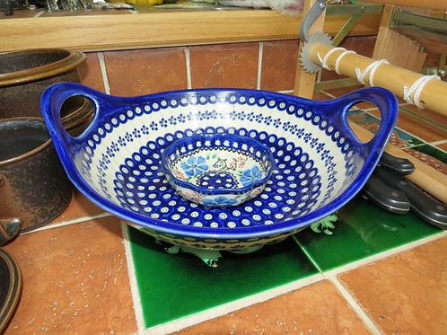 "14"" Poland Pottery Serving Bowl & Small Dish"