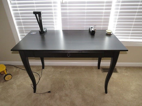 """Black enamel desk VGC 46"""" wide by 24"""" deep with long drawer"""