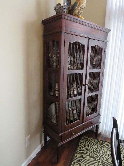 """Lighted china cabinet 6' x 40"""" vg condition, sterling silver drawer"""