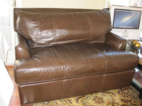 Brown Leather Love Seat